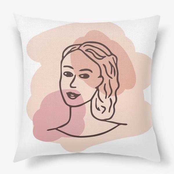 Подушка «портрет молодой девушки. минимализм модерн»