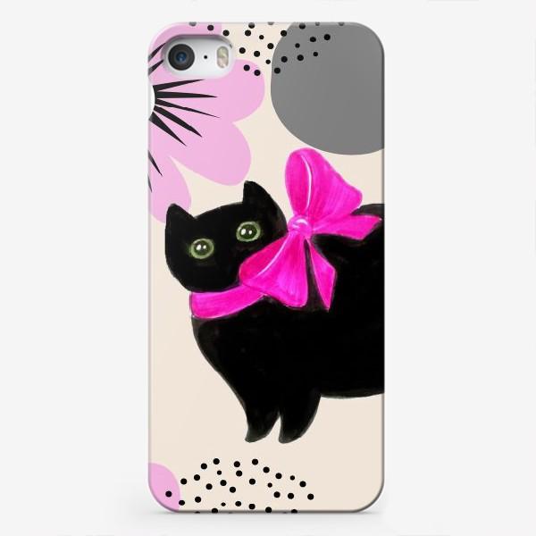 Чехол iPhone «Киса и цветы»