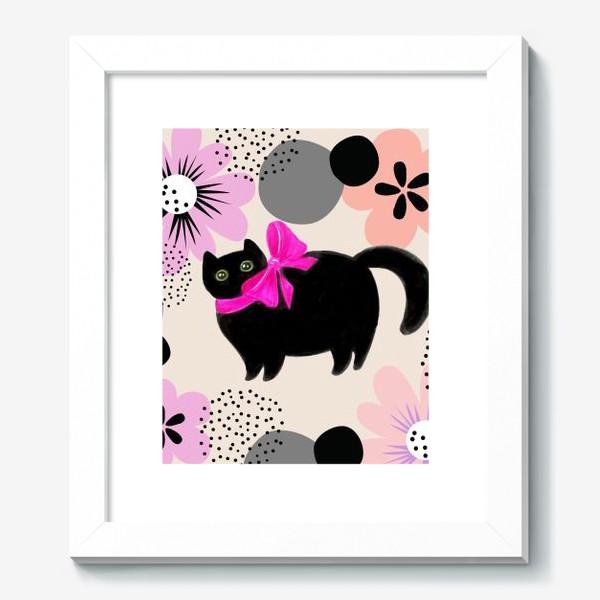Картина «Киса и цветы»