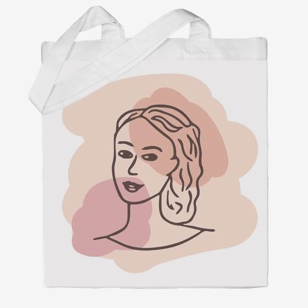 Сумка хб «портрет молодой девушки. минимализм модерн»