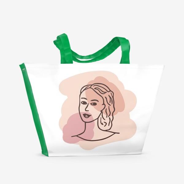 Пляжная сумка «портрет молодой девушки. минимализм модерн»