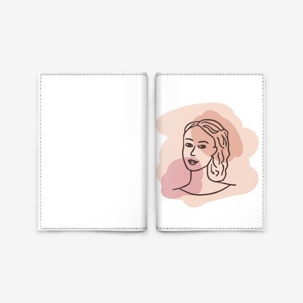 Обложка для паспорта «портрет молодой девушки. минимализм модерн»