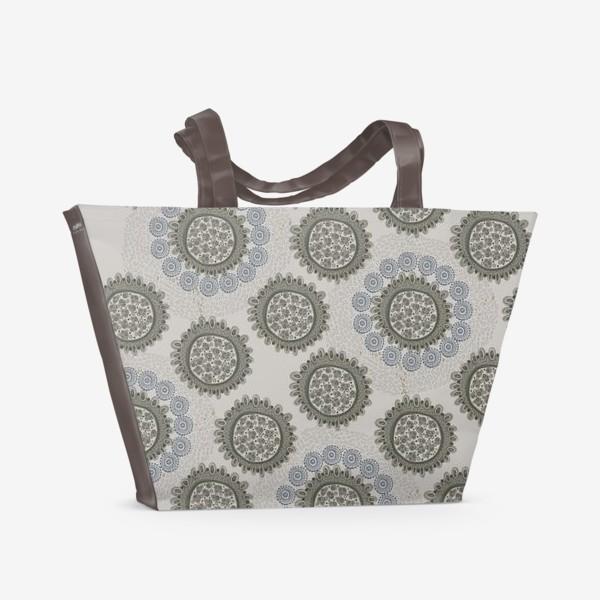 Пляжная сумка «Серый орнаметр»