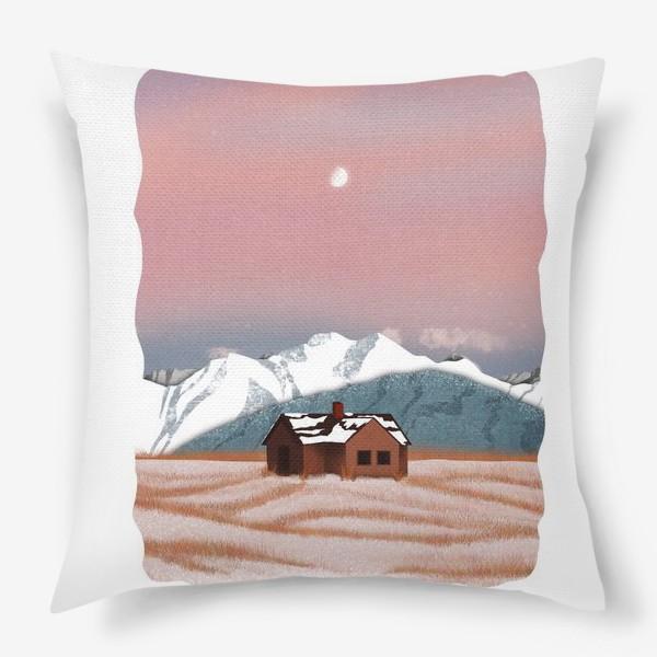 Подушка «Рисунок «Домик в горах»»