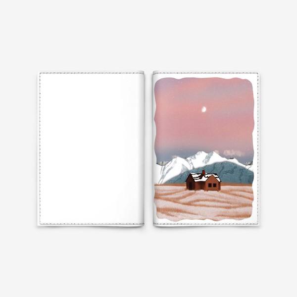 Обложка для паспорта «Рисунок «Домик в горах»»