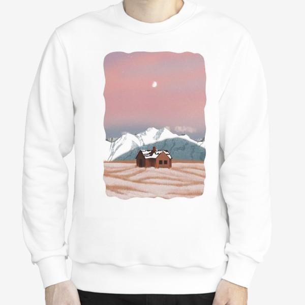 Свитшот «Рисунок «Домик в горах»»