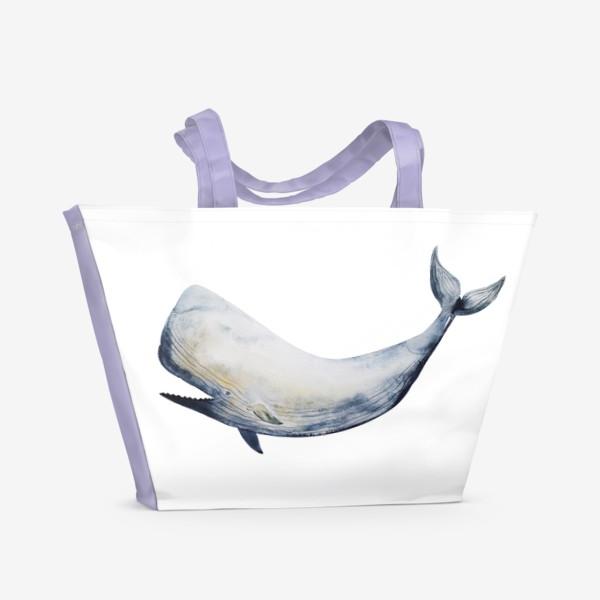 Пляжная сумка «Кит. Акварельная иллюстрация»