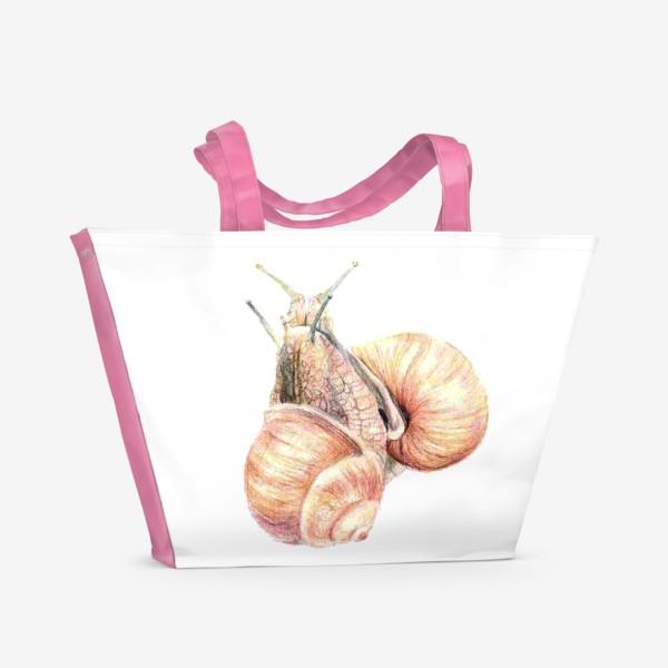 Пляжная сумка «пара влюбленных улиток (улитка)»