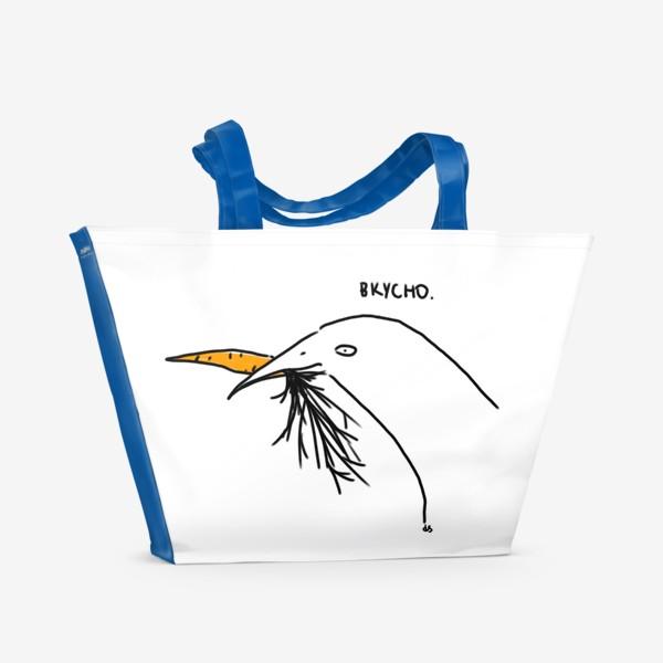 Пляжная сумка «Слаще морковки ничего не ела птица»