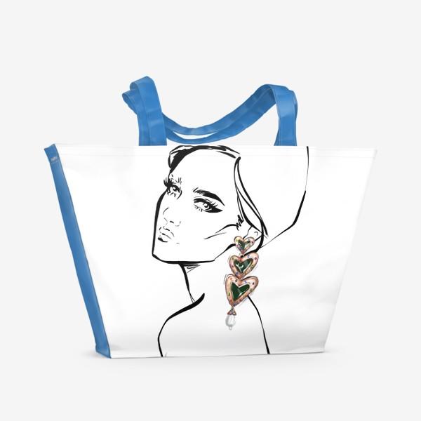 Пляжная сумка «Girl with earring »