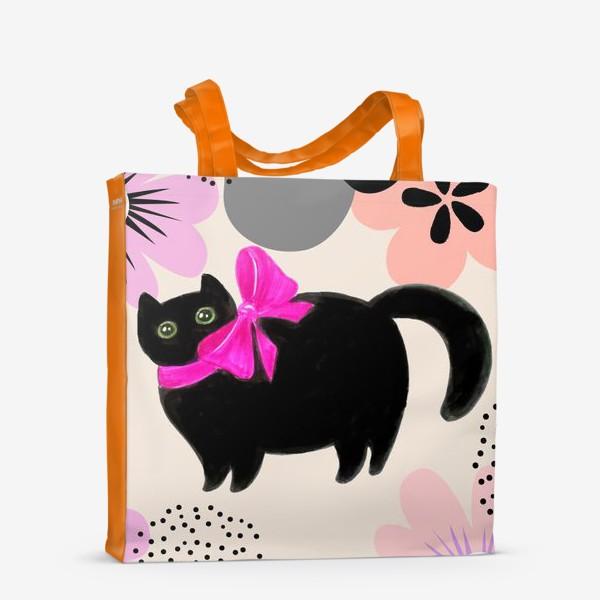 Сумка-шоппер «Киса и цветы»