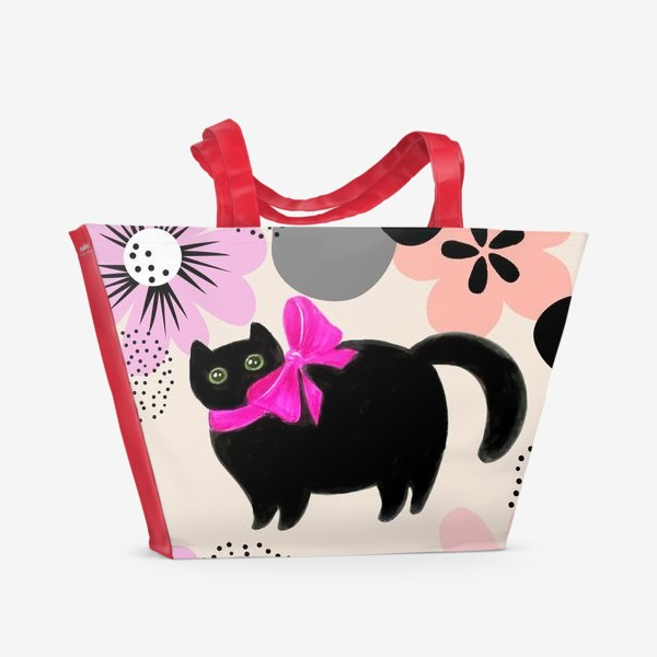 Пляжная сумка «Киса и цветы»