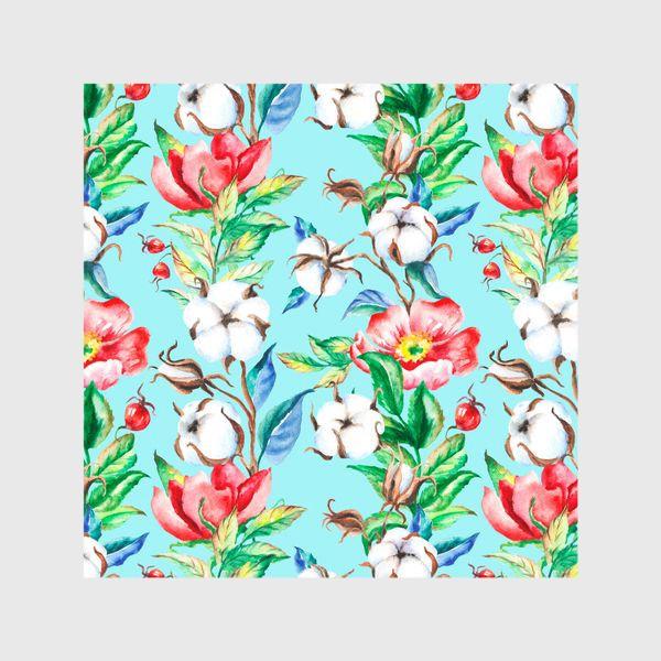 Шторы «Акварельные цветы и ягод и шиповника и хлопок»