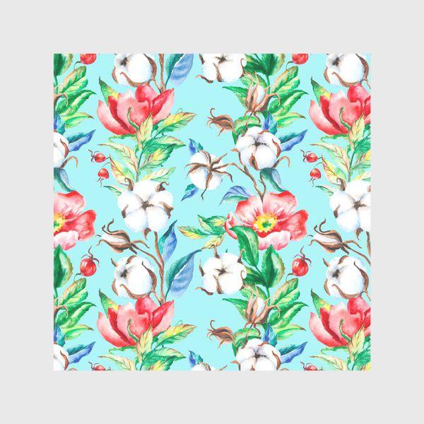 Скатерть «Акварельные цветы и ягод и шиповника и хлопок»