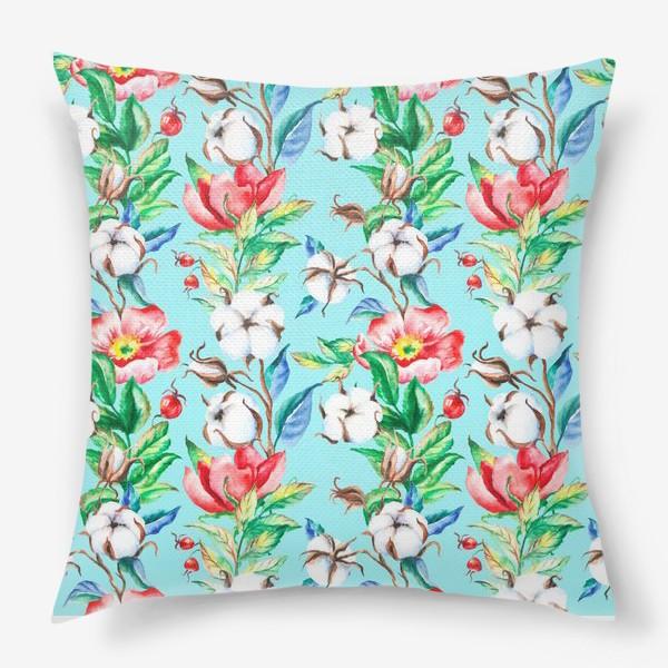 Подушка «Акварельные цветы и ягод и шиповника и хлопок»
