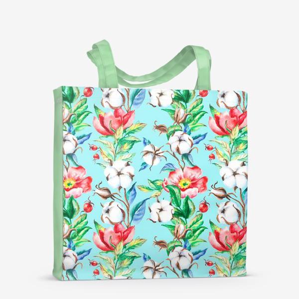 Сумка-шоппер «Акварельные цветы и ягод и шиповника и хлопок»