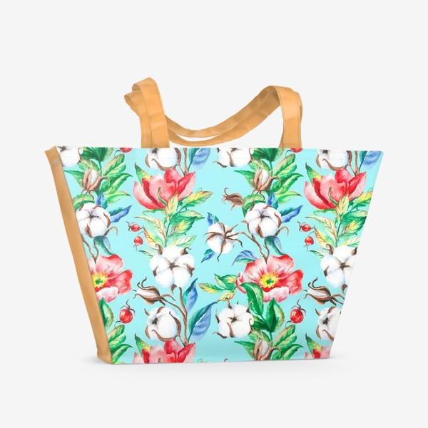 Пляжная сумка «Акварельные цветы и ягод и шиповника и хлопок»