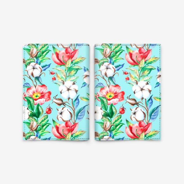 Обложка для паспорта «Акварельные цветы и ягод и шиповника и хлопок»