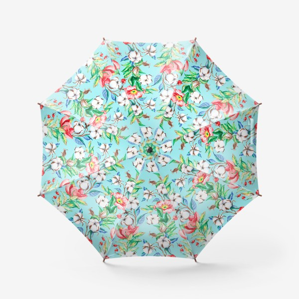 Зонт «Акварельные цветы и ягод и шиповника и хлопок»