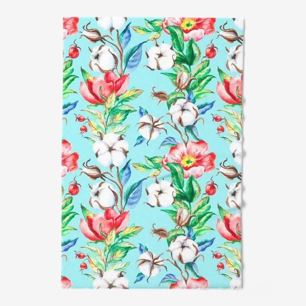 Полотенце «Акварельные цветы и ягод и шиповника и хлопок»