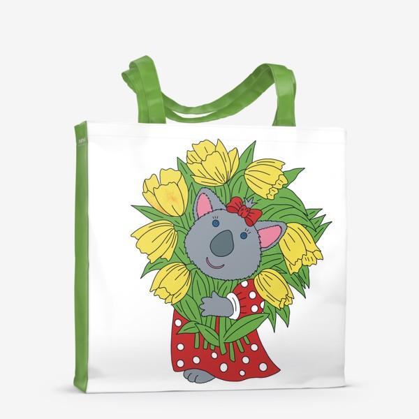 Сумка-шоппер «Милая коала с букетом тюльпанов»