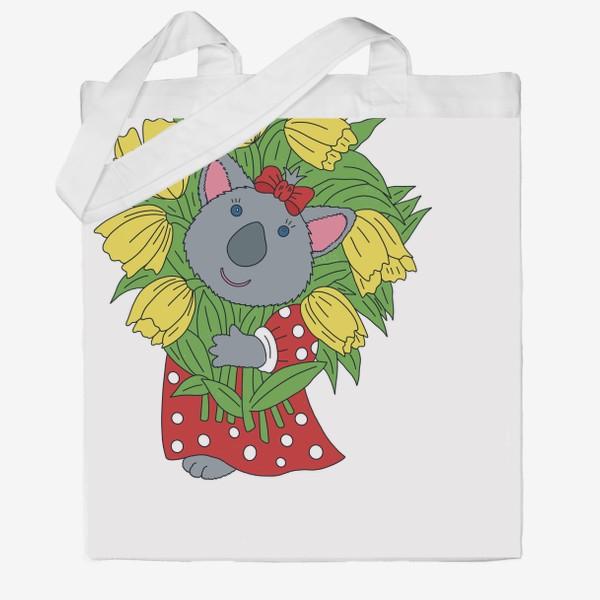 Сумка хб «Милая коала с букетом тюльпанов»