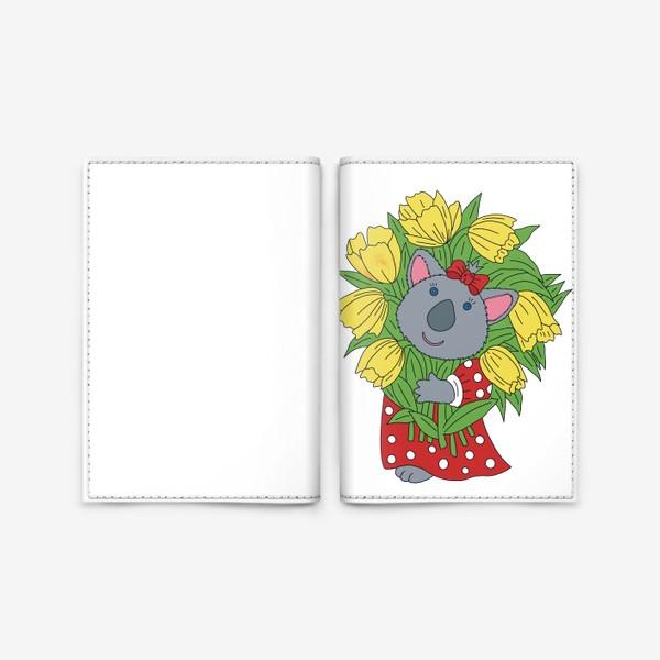 Обложка для паспорта «Милая коала с букетом тюльпанов»