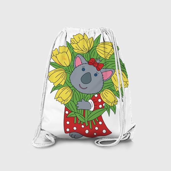 Рюкзак «Милая коала с букетом тюльпанов»