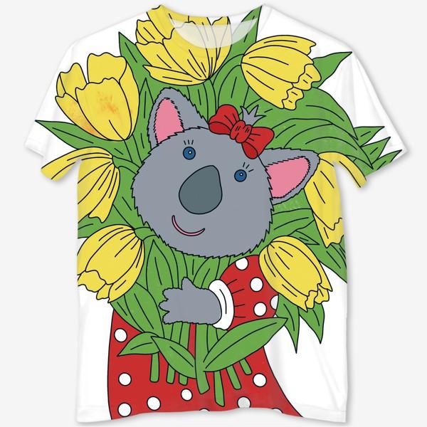 Футболка с полной запечаткой «Милая коала с букетом тюльпанов»