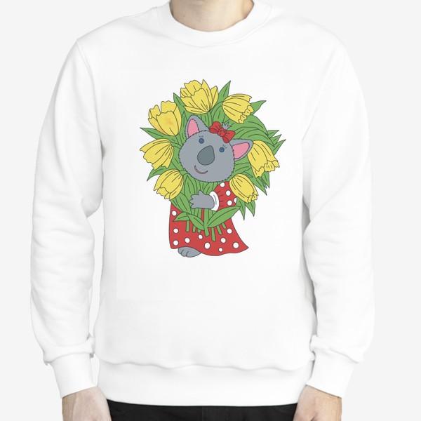 Свитшот «Милая коала с букетом тюльпанов»