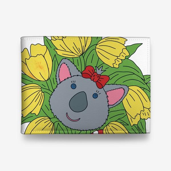 Кошелек «Милая коала с букетом тюльпанов»