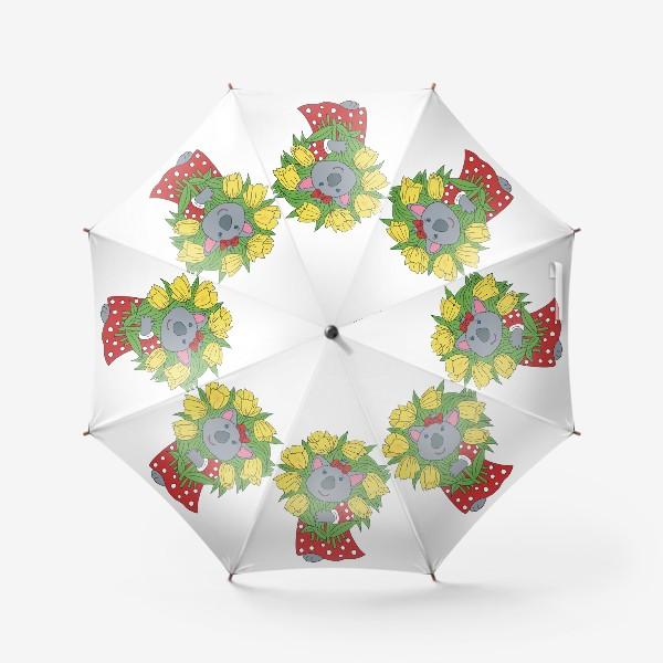Зонт «Милая коала с букетом тюльпанов»