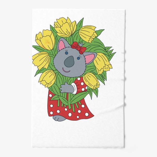 Полотенце «Милая коала с букетом тюльпанов»