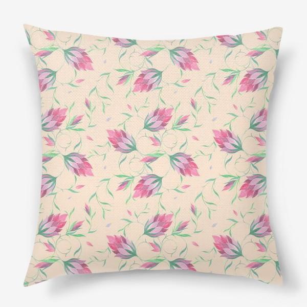 Подушка «Милые цветы на вьющихся веточках»