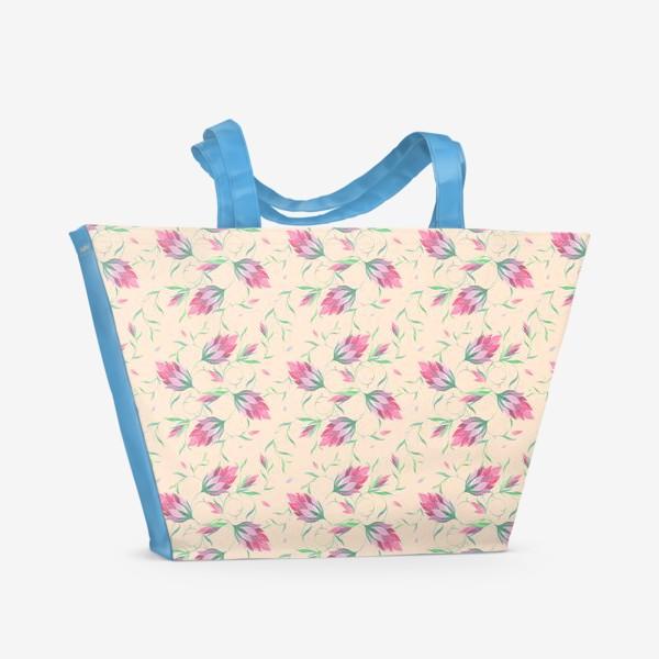 Пляжная сумка «Милые цветы на вьющихся веточках»