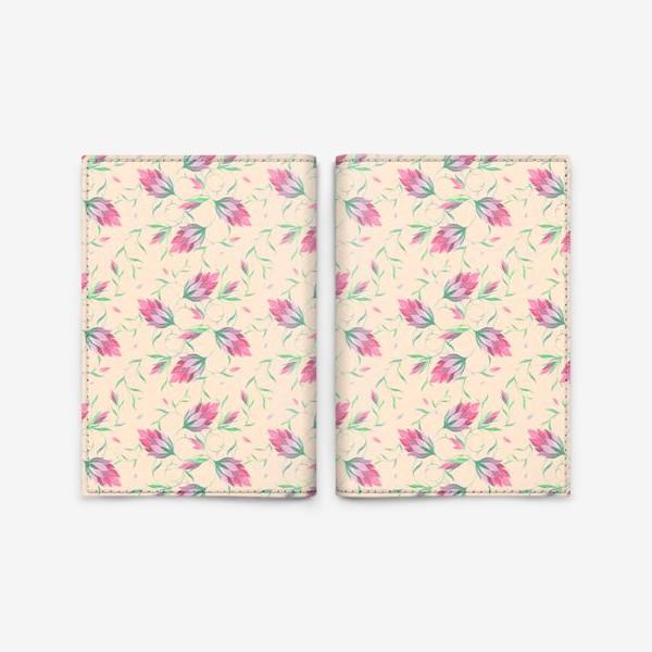 Обложка для паспорта «Милые цветы на вьющихся веточках»