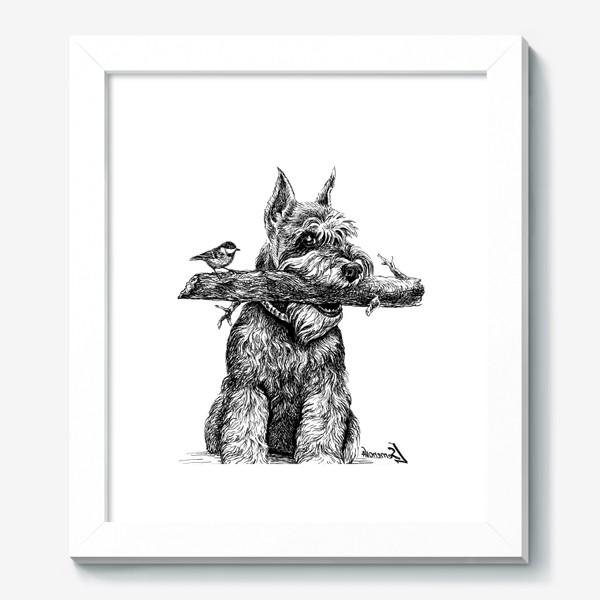 Картина «Шнауцер и птичка»