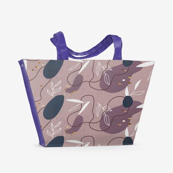 Пляжная сумка «Абстрактный  паттерн с золотыми акцентами»