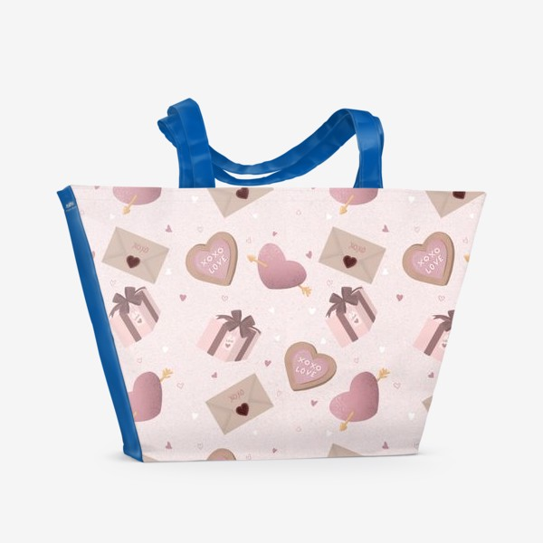 Пляжная сумка «Паттерн «День Валентина»»