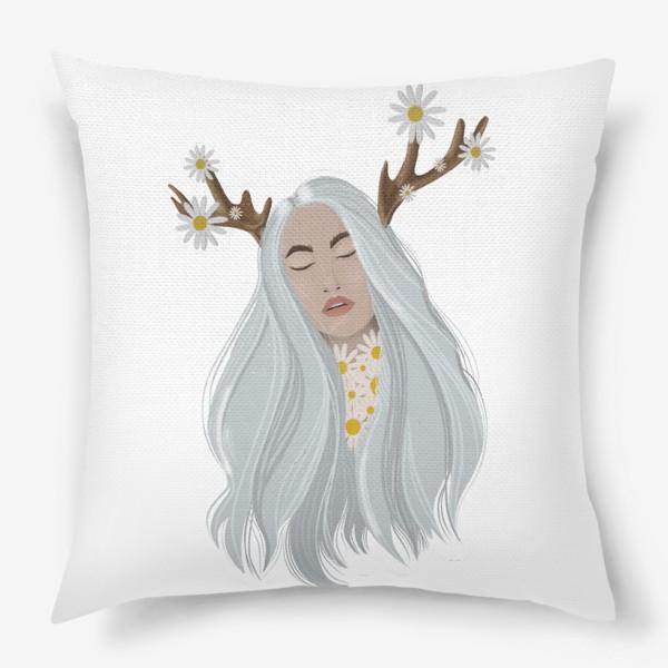 Подушка «Рисунок «Девушка с ромашками»»