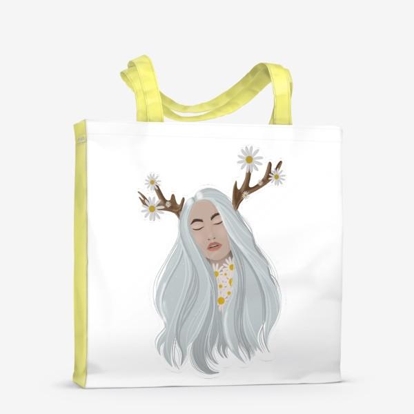 Сумка-шоппер «Рисунок «Девушка с ромашками»»