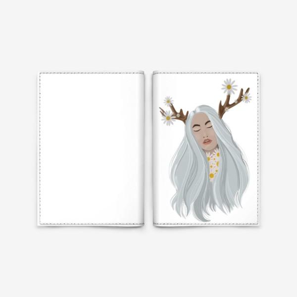 Обложка для паспорта «Рисунок «Девушка с ромашками»»