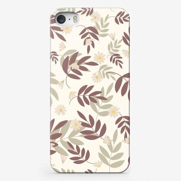Чехол iPhone «веточки на бежевом»