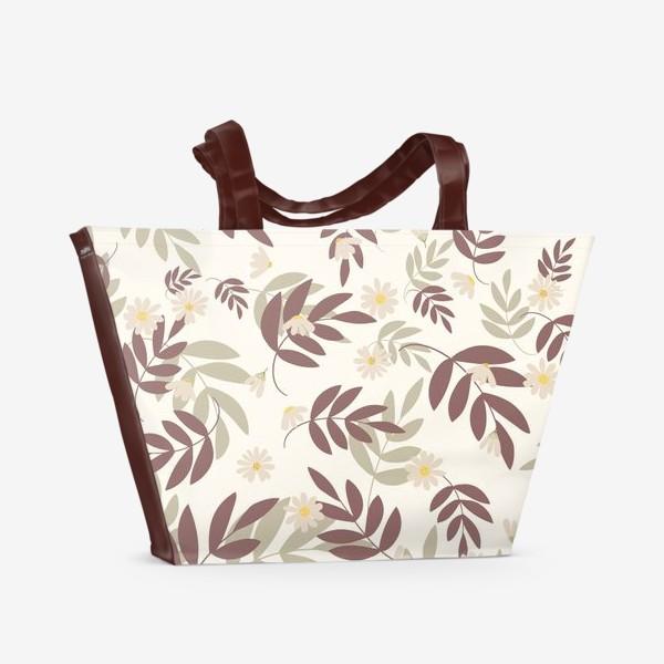 Пляжная сумка «веточки на бежевом»