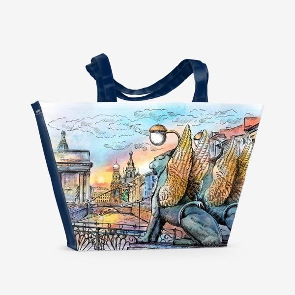 Пляжная сумка «Банковский мост с грифонами, Санкт-Петербург»