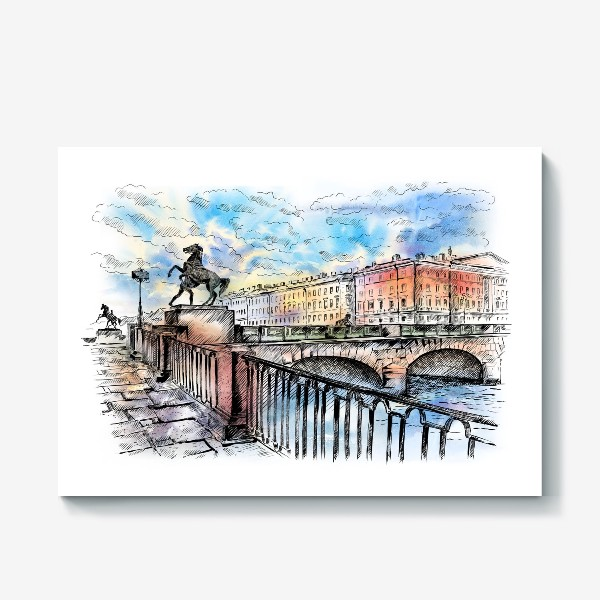 Холст «Аничков мост с конями, Санкт-Петербург»