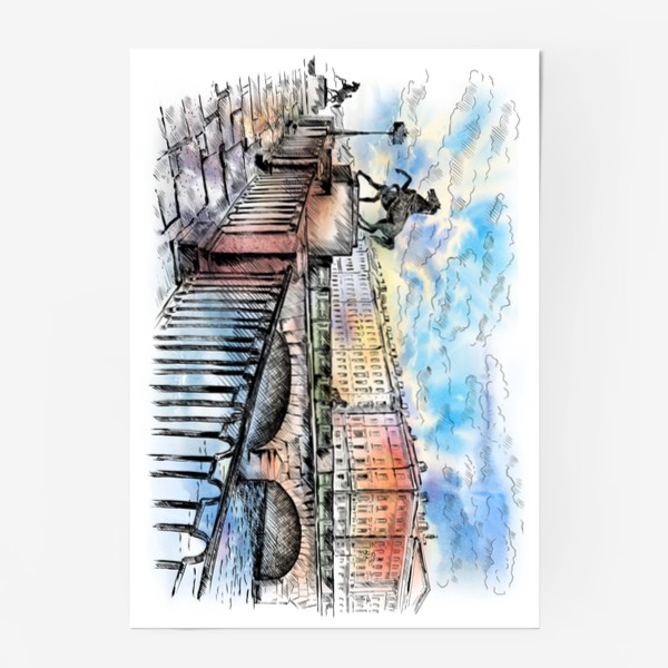 Постер «Аничков мост с конями, Санкт-Петербург»