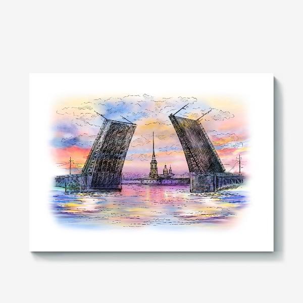 Холст «Дворцовый мост, Санкт-Петербург»
