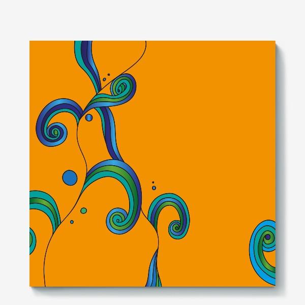 Холст «Водоросли на оранжевом фоне»