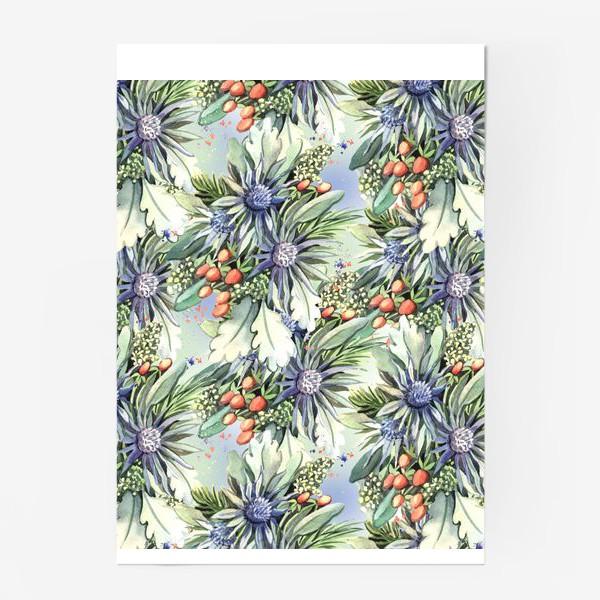 Постер «Зимний цветочный паттерн»